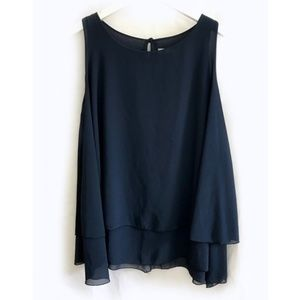 Made in Italy navy flowy double layer chiffon top